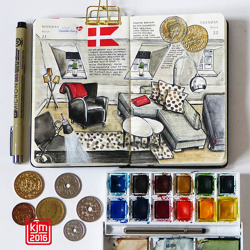 Doodlewash and watercolor sketch by Kathrin Jebsen-Marwedel of living room with couch and chair in Moleskine Planner