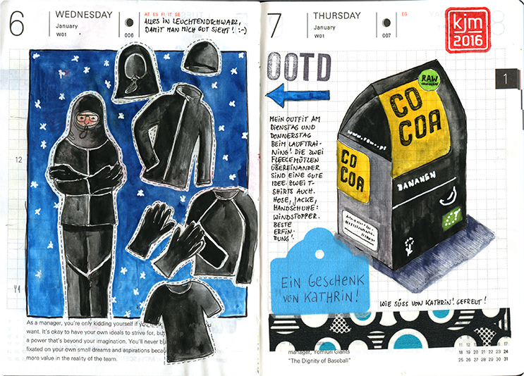 Doodlewash and watercolor sketch by Kathrin Jebsen-Marwedel of clothes and cocoa in Moleskine planner