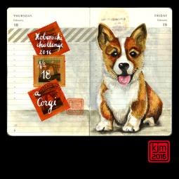 Doodlewash and watercolor sketch by Kathrin Jebsen-Marwedel of Corgi in Moleskine Planner