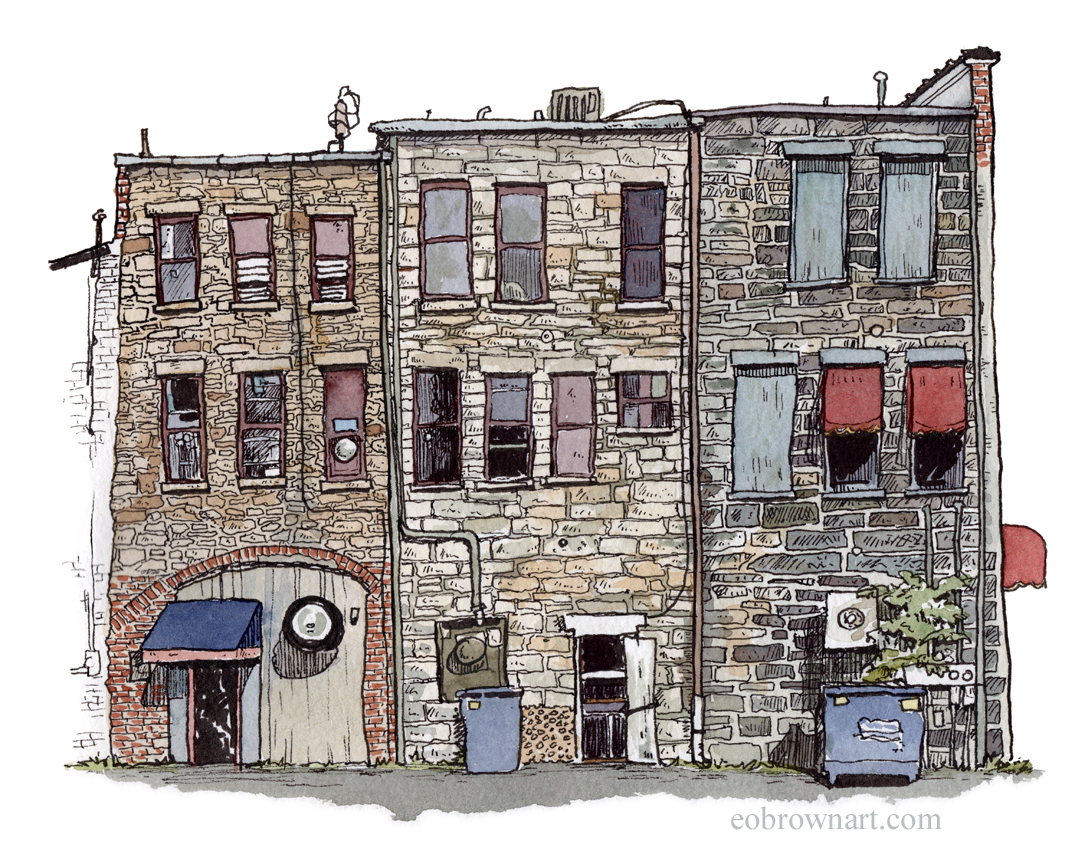 Doodlewash and watercolor sketch by E. O. Brown of old buildings
