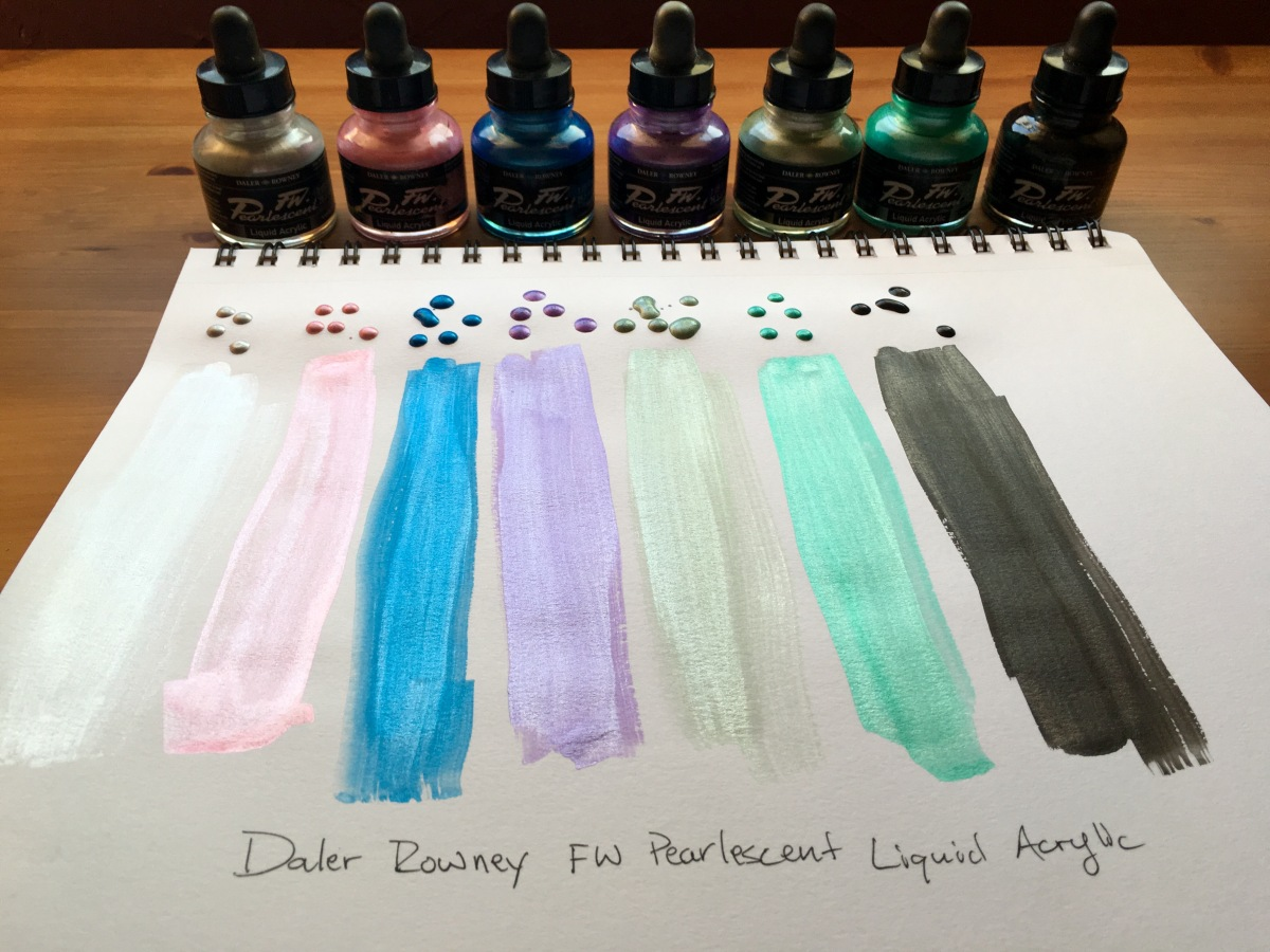 Daler Rowney FW Pearlescent Acrylic Ink swatches silver, pink, blue, purple, green, teal, black on white Canson XL paper