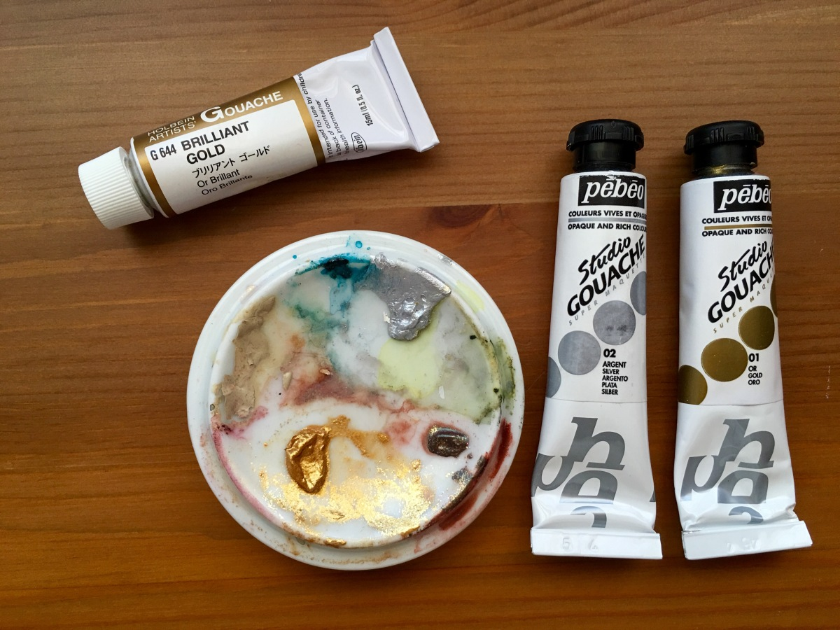 Holbein Brilliant gold gouache and pebeo gold and silver gouache tubes