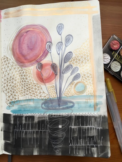 Finetec Artist Mica Watercolors and gold and silver Gelly Roll pens in a Leda Art Supply sketch book