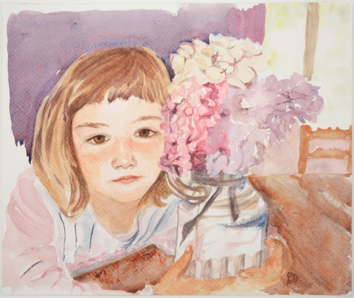 Doodlewash and watercolor painting by Olga Reiff of portrait of little girl and vase of flowers