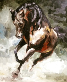 First Oil Painting by Alice Cleary of a horse running