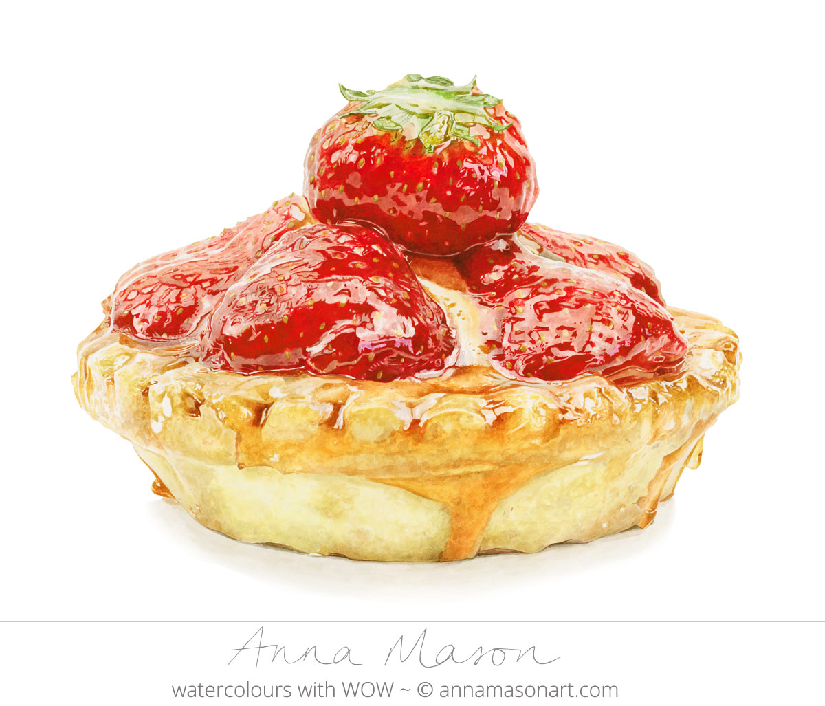 Doodlewash - Watercolor painting by Anna Mason of strawberry tart dessert