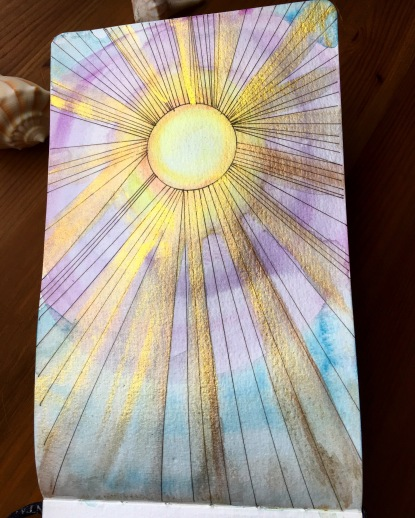 Sun painting by jessica seacrest usuing holbein watercolor and Finetec Artist Mica Watercolors in a pentalic watercolor journal