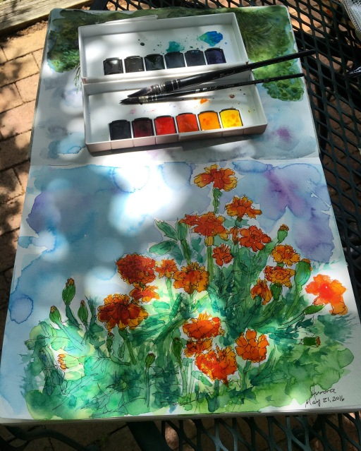 Handbook Journal Travelogue watercolor journal watercolour painting of marigolds with mission gold watercolors