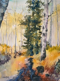 Doodlewash and watercolor sketch by Angela Fehr of trees in forest