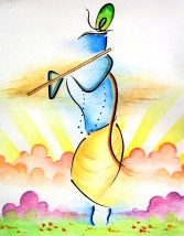 Doodlewash and painting by Sarang Khanna of Lord Krishna