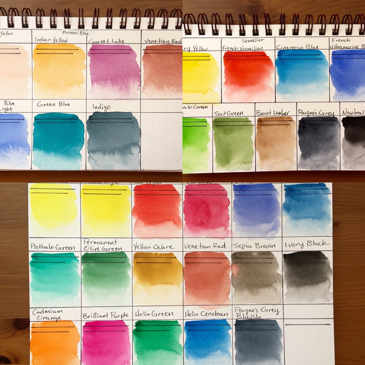 Schmincke, Sennelier, MaimeriBlu watercolor swatches