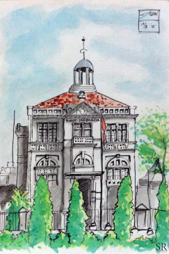 Doodlewash and watercolor sketch by Ngurah Angga of Bank Indonesia Solo