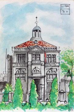 Doodlewash and watercolor sketch by Ngurah Angga of Bank Indonesia Solo