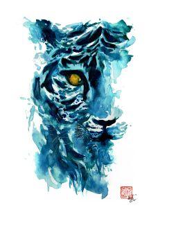 Doodlewash and watercolor sketch by Coco Bee (Queenie Wong) of tiger
