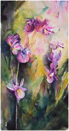 Doodlewash and watercolor sketch by Angela Fehr of purple flowers