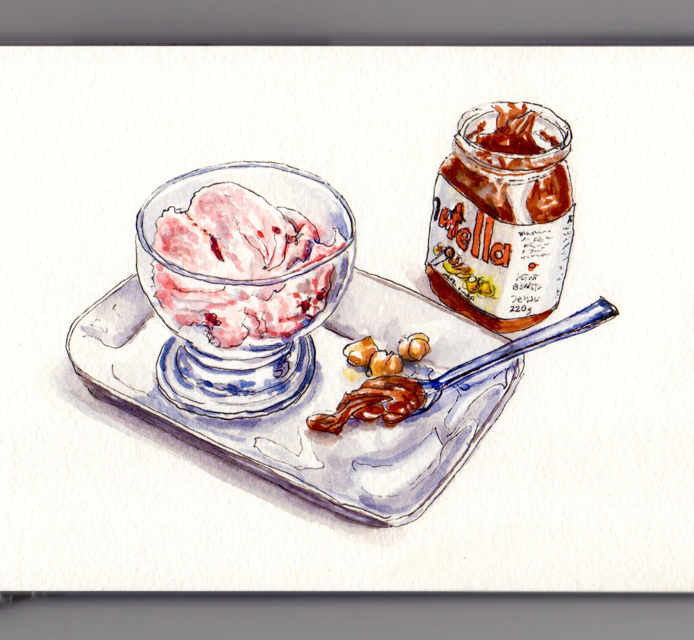 Day 14: #WorldWatercolorMonth Strawberry Ice Cream and Nutella