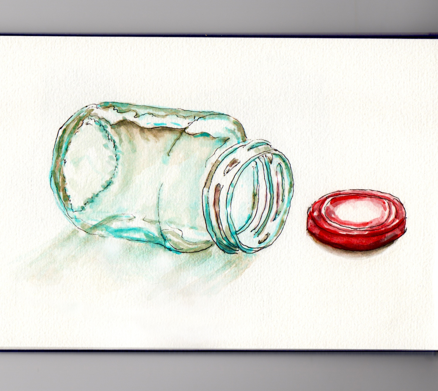 Day 15 #WorldWatercolorMonth Empty Glass container jar with red lid