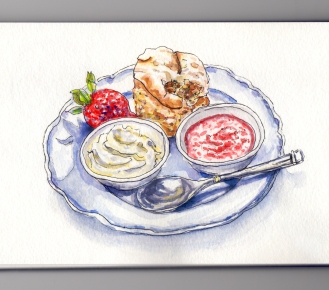 Day 21 #WorldWatercolorMonth Cream Jam and Biscuit on Plate