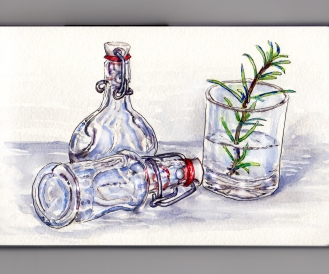 Day 22: #WorldWatercolorMonth Glass bottle rosemary still life