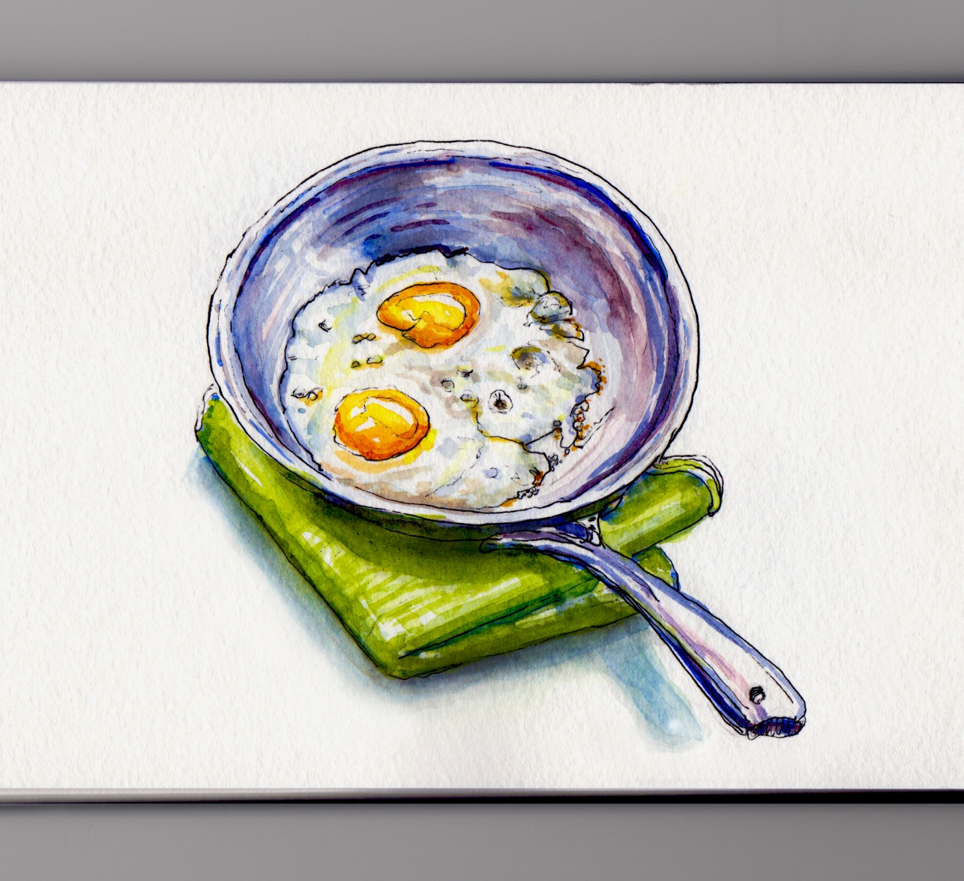 Day 27: #WorldWatercolorMonth Eggs Sunny Side Up in Metal Pan Skillet