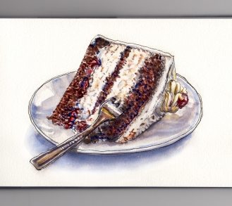 Day 30: #WorldWatercolorMonth Black Forest Cake Chocolate White Icing on Plate WIth Fork