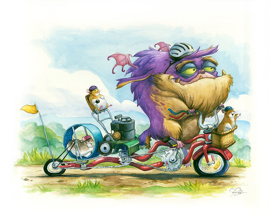 Doodlewash and Watercolor Sketch by Danny Beck of monster and hamsters on bicycle