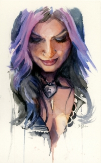 Doodlewash and Watercolor Sketch by Danny Beck of woman portrait