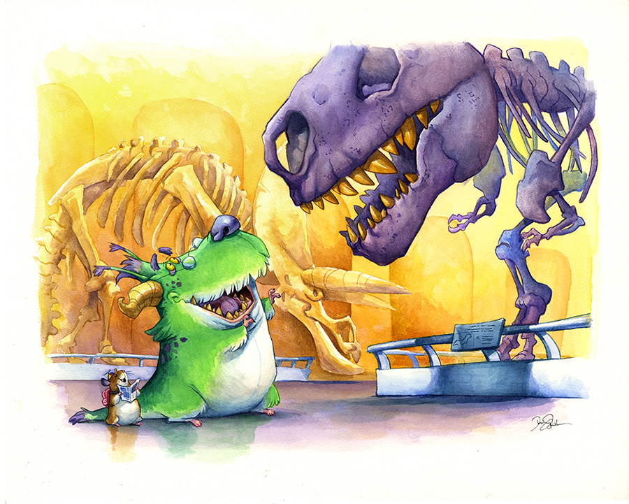 Doodlewash and Watercolor Sketch by Danny Beck of monster and Tyrannosaurus Rex Skeleton