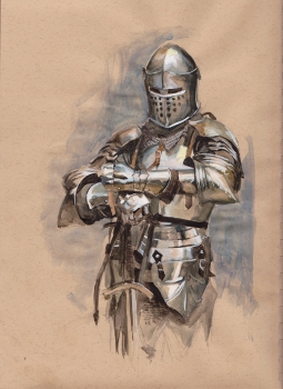 Doodlewash and Watercolor Sketch by Danny Beck of silver knight in shining armor