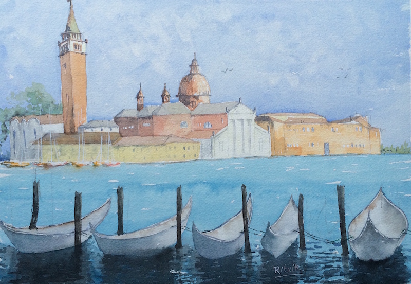 Doodlewash and watercolor sketch by Ritvik Sharma of Venice