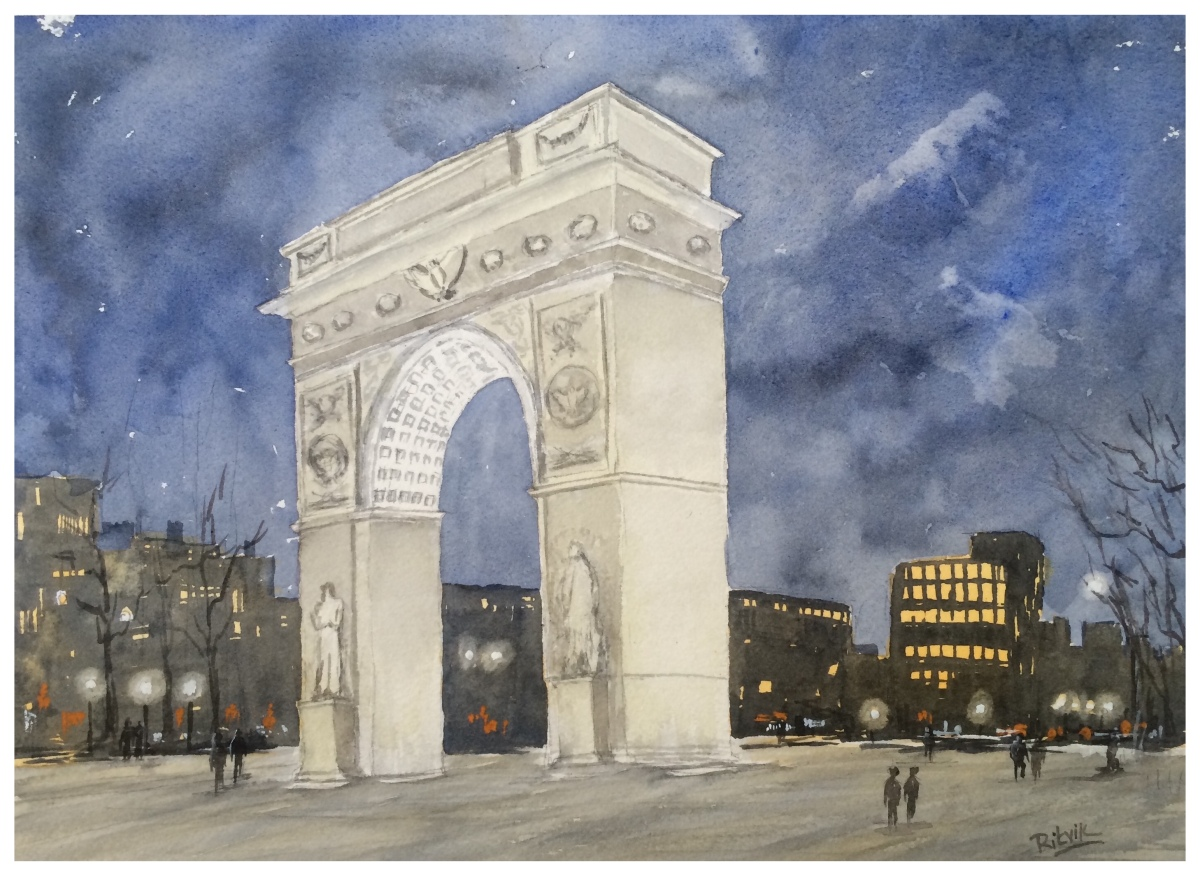 Doodlewash and watercolor sketch by Ritvik Sharma of arch