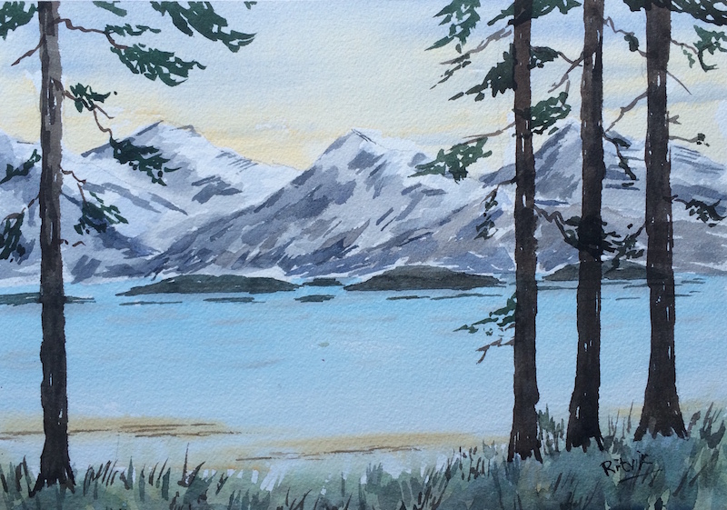 Doodlewash and watercolor sketch by Ritvik Sharma of mountains water and trees