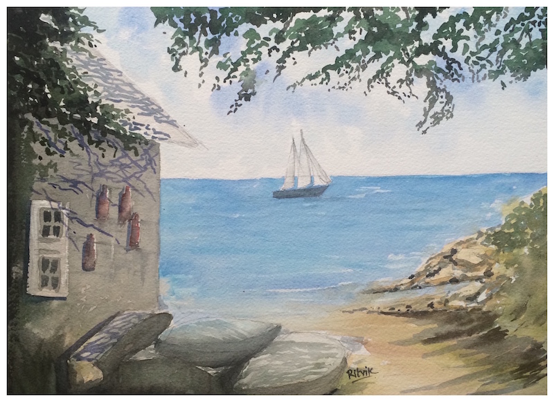 Doodlewash and watercolor sketch by Ritvik Sharma of house and sailboat