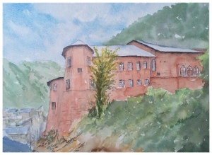 Doodlewash and watercolor sketch by Ritvik Sharma of red building