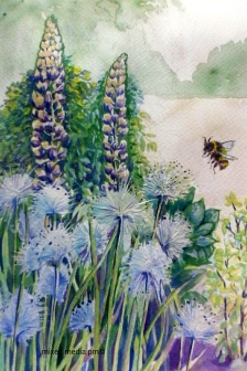 Doodlewash and watercolor painting by Marches Country Lady of Bee and flowers
