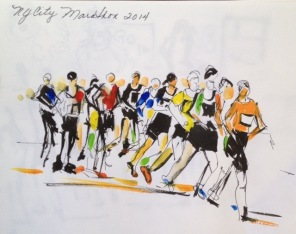 Doodlewash and watercolor sketch by Diane Klock of 2014 New York City Marathon
