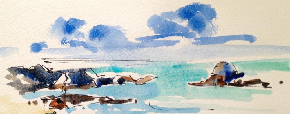 Doodlewash and watercolor sketch by Diane Klock of water and rocks