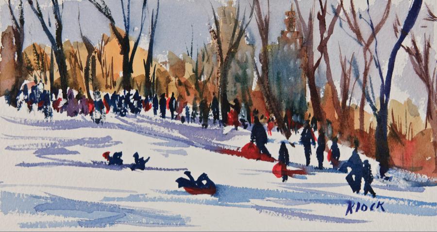 Doodlewash and watercolor sketch by Diane Klock of people sledding in winter