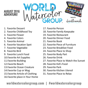 Doodlewash August 2016 Adventure Daily Prompts