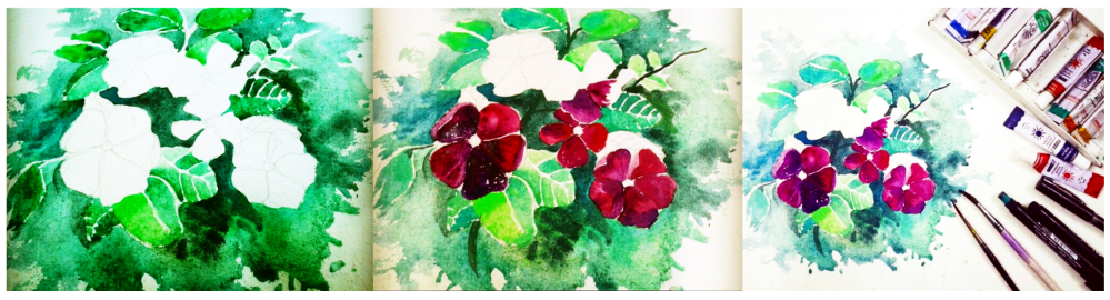 Doodlewash and watercolor sketch by Anupriya Arvind of flowers being painted
