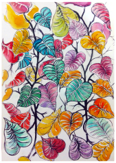 Doodlewash and watercolor sketch by Anupriya Arvind of leaf pattern