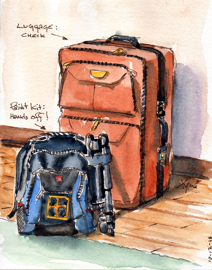 Doodlewash and watercolor sketch by Keni Arts of luggage and paint kit in Ghana