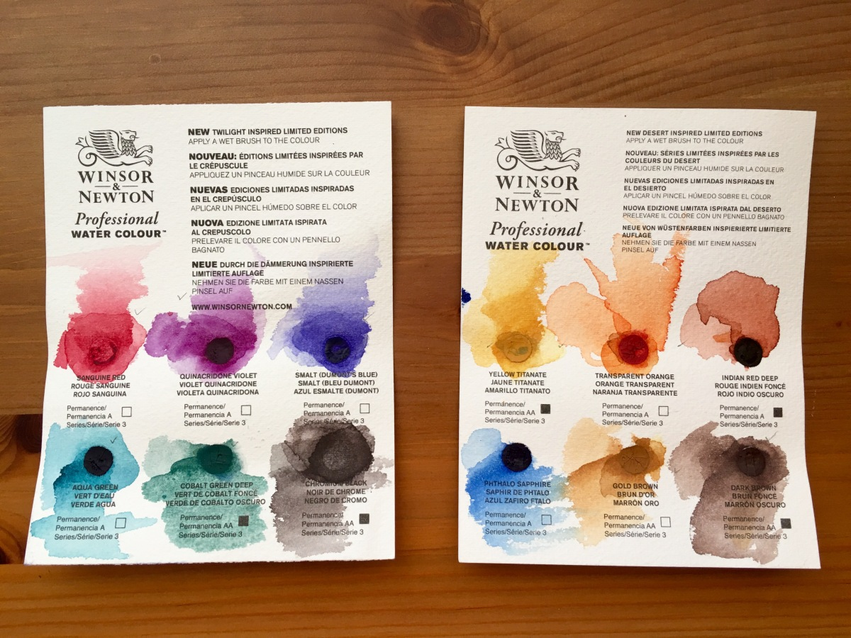 Winsor & Newton dot cards of limited edition colors twilight and desert