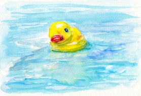 Doodlewash Rubber Duckie Color Test Sennelier watercolor paint