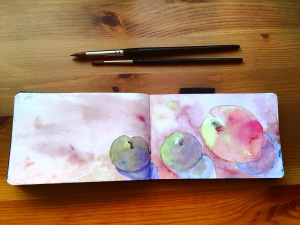 fruit painting by jessica seacrest using white nights watercolors and daniel smith