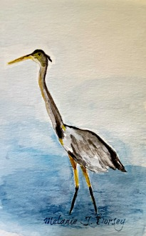 Doodlewash and watercolor sketch by Melanie J. Dorsey of heron