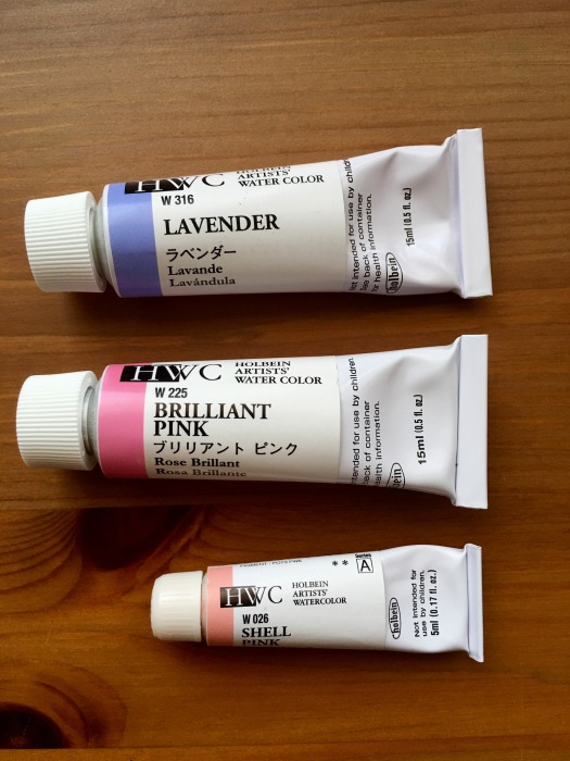 holbein watercolor lavender brilliant pink and shell pink tubes of paint