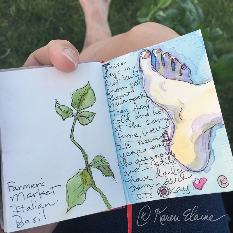 Doodlewash - Nanosketch by Karen Elaine Parsons of woman's foot