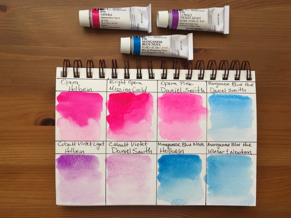 Holbein opera, mission gold bright opera, Daniel Smith opera pink, manganese blue hue, cobalt violet light, manganese blue nova watercolor swatches