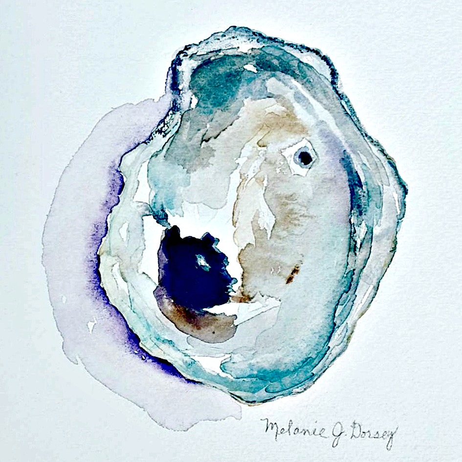 Doodlewash and watercolor sketch by Melanie J. Dorsey of oyster shell